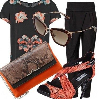 Outfit Look arancio nero