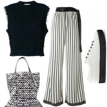 Outfit Bianco e nero geometrico