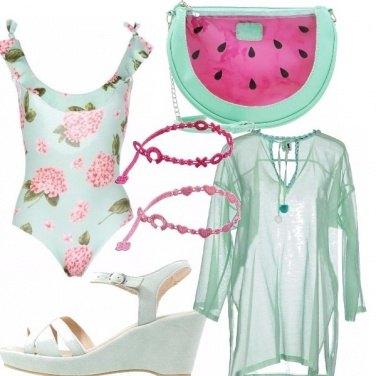 Outfit Fresco color menta e rosa...