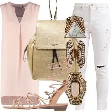 Outfit Rosa e gold