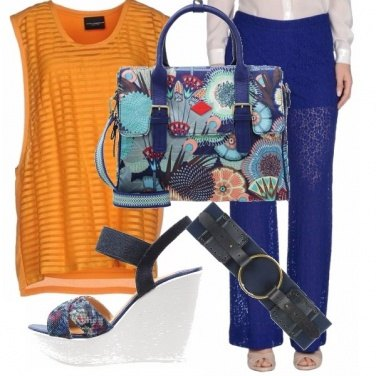Outfit Casual blu & orange
