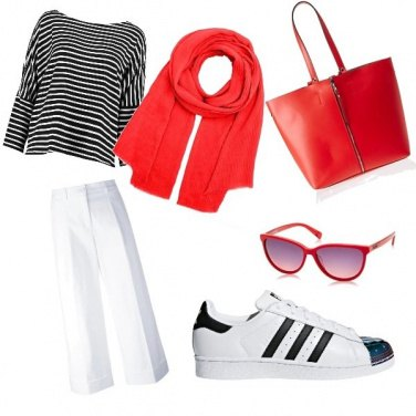 Outfit Righe e rosso