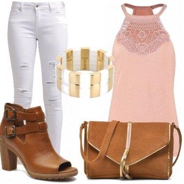 Outfit Cuoio, rosa e bianco!
