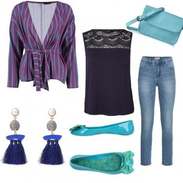 Outfit Giacca a righe multicolore