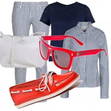 Outfit Outfit blu, bianco e rosso!