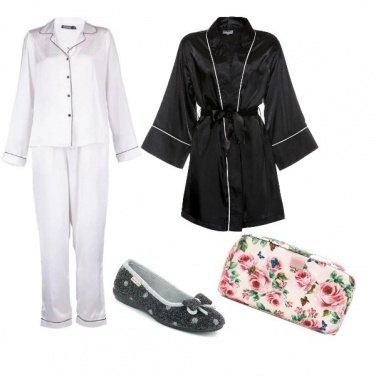 Outfit Notte in bianco e nero con rose