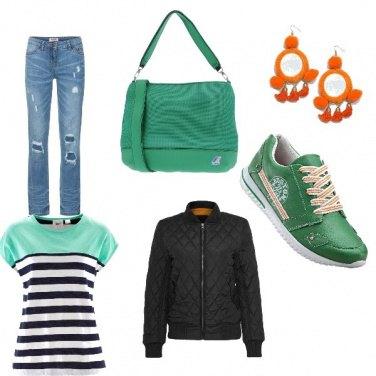 Outfit Verde e arancione