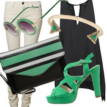 Outfit Look nero - smeraldo