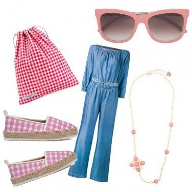Outfit Denim in rosa e quadri