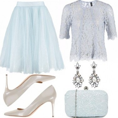 Outfit Tulle e pizzo celeste