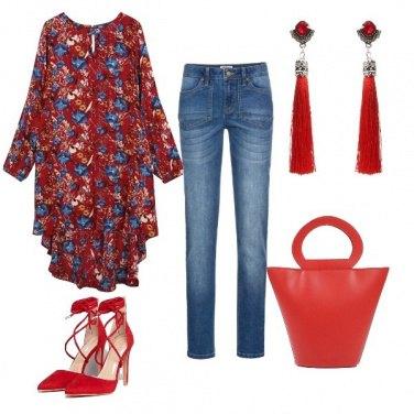 Outfit In rosso e azzurro