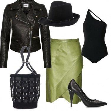 Outfit La gonna in pelle verde oliva