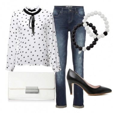 Outfit Blusa a pois...casual chic