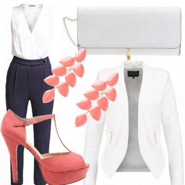 Outfit Cerimonia in blu pesca e bianco