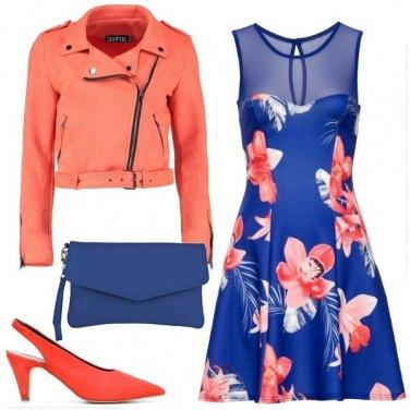 Outfit Fiori e fintapelle