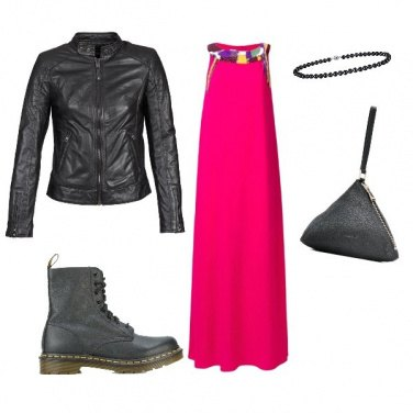 Outfit Biker in abito lungo