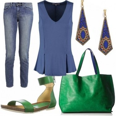 Outfit In verde e blue
