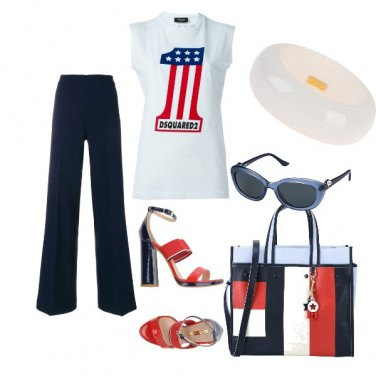 Outfit Bianco -Rosso-Blu