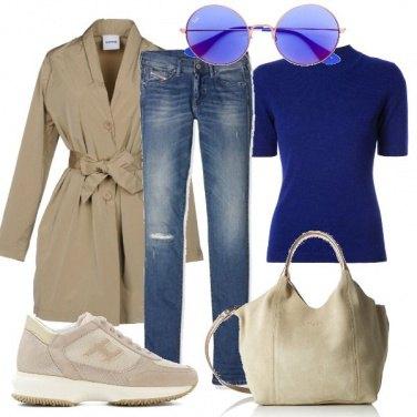 Outfit Basic in beige e blu