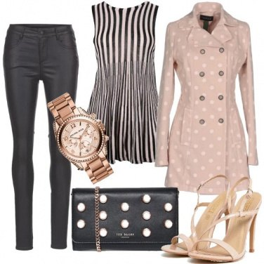 Outfit Caban a pois e righe chic