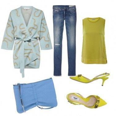 Outfit Contrasto (azzurro&verde acido)