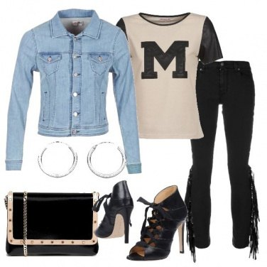 Outfit Jeans skinny con frange