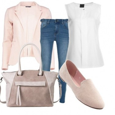 Outfit Il blazer rosa cipria