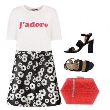 Outfit Black White & Red