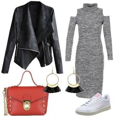 Outfit Grigio nero e rosso