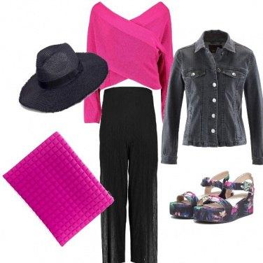 Outfit Fucsia e nero
