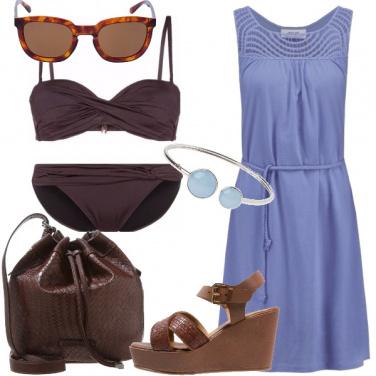 Outfit Cioccolato e celeste