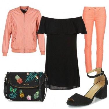 Outfit #Spartoo#Peach&Black