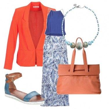 Outfit Arancio e blu per tutti i giorni