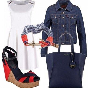 Outfit Bianca rossa e blue