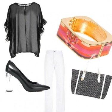 Outfit Black e White ma con un tocco di colore