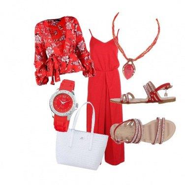 Outfit La giacca kimono in rosso