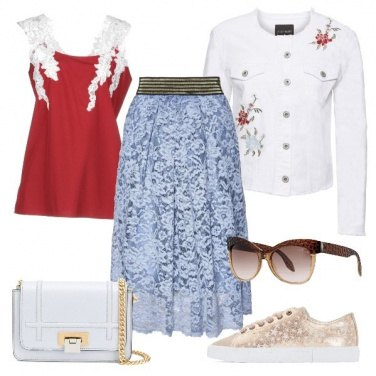 Outfit Gonna in pizzo e sneakers