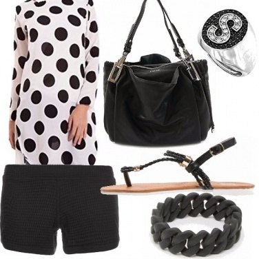 Outfit Nero e bianco a pois