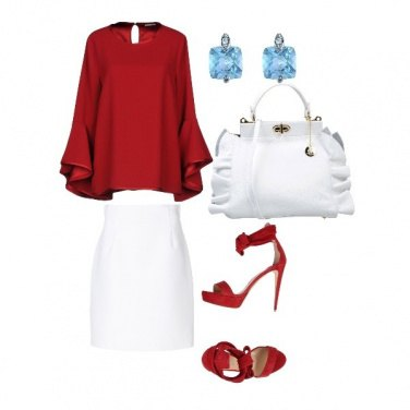 Outfit Woman in white and red