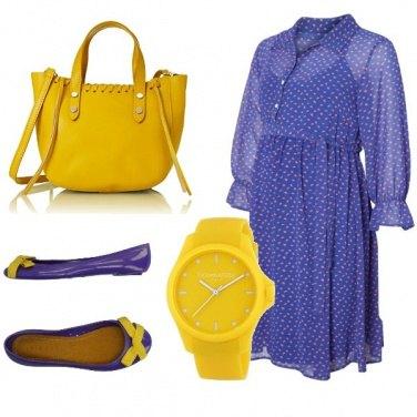 Outfit Mamma in viola e giallo