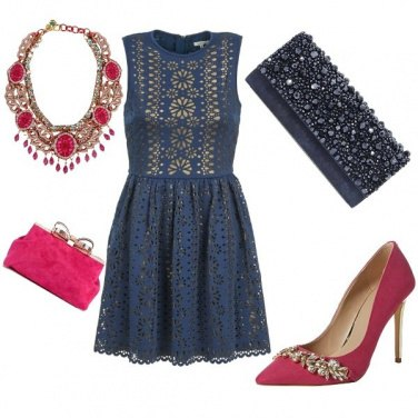 Outfit Cerimonia rosa e blu