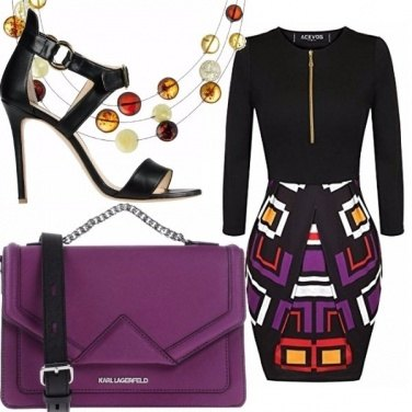 Outfit Viola nero e tocchi di colore