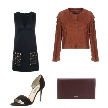 Outfit Elegante in nero e marrone