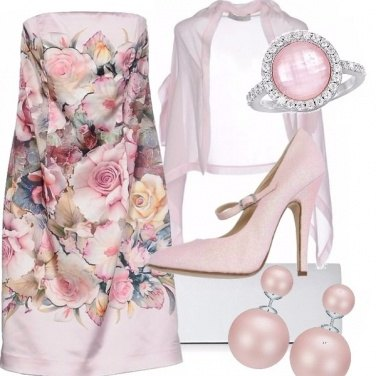 Outfit Cerimonia in rosa floreale
