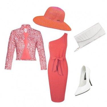 Outfit Bon ton in bianco e arancio