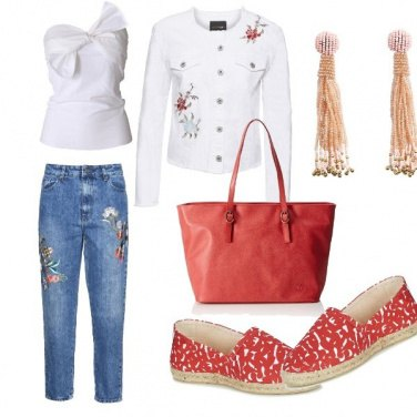 Outfit Floral jeans + top