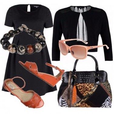 Outfit Nero e arancione