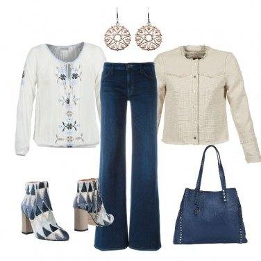 Outfit Blu e panna