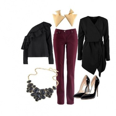 Outfit Bordeaux e nero