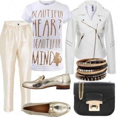 Outfit Oro e Biker bianco